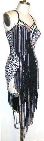 White Cheetah latin Dress with fringe