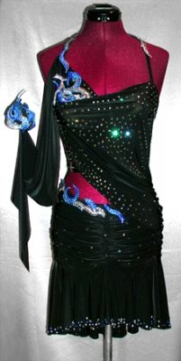Japanese Fire Stars Dress latin rhythm dance gown
