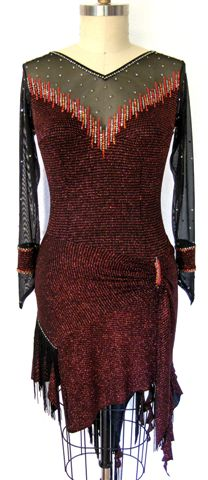 Fiery Elegance latin ballroom dress for competition front