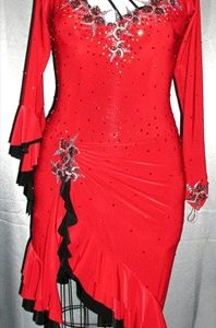 Red Hot Pop latin ballroom dress for competition