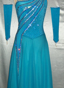Ocean Jewel ballroom dress custom made by Zhanna Kens