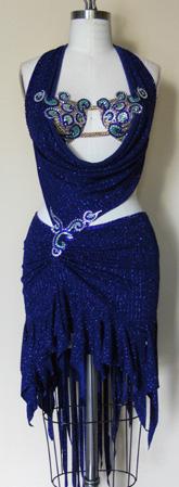 Blue Peacock Latin Dress Swarovski Crystals