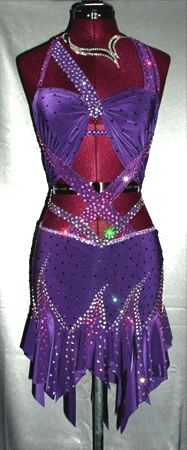 Violet Blaze latin rhythm competition dress by Zhanna Kens