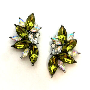 Ballroom Dancing Rhinestone Earrings Olivine Satin with Crystal AB #1