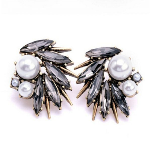 rhinestone earrings with pearls style 14