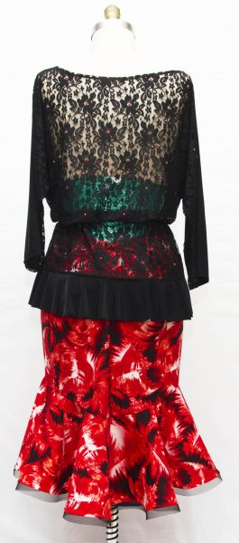 Latin dance Top with Latin Dance Skirt, Size 10-12
